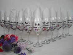 Hand Painted Personalized Bridesmaid Dress Wine Glasses - GIFT WRAPPING AVAILABLE. $22.00, via Etsy.