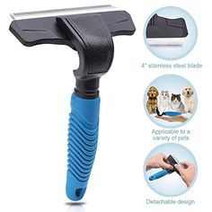 Amazon.com: WOLFWILL Pet Deshedding Tool Grooming Brush for Dogs & Cats, Easy Disassembly, Skin Friendly Stainless Steel Comb, Hair Release Button-Large: Sports & Outdoors