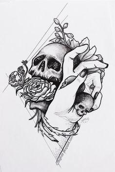 Illustration - Comforting hand - 03.2017 - ~20x30cm, Stylo Rotring 0.05 à 1 -  Plus de détails et photos sur www.jltgfndr.blogspot.com  #Portrait #Squelette #Skeletton #Main #Hand #Skull #Crâne #TêteDeMort #Fleurs #Flowers #Rose #Epines #Thorns #Halloween #Rotring #Surréaliste #Surrealist #CrossHatching #Tattoo #Tatouage #Illustration #Géométrie #Geometric #Frame #NoirEtBlanc #BlackAndWhite #Jltgfndr
