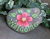 Painted Welcome garden rock decoration, peach flower