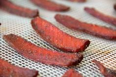Salmon Jerky..... These were pretty good, a novel way to make salmon. I think next time I'll add 1-2 tablespoons maple syrup to give them a candied salmon flavor. I only needed to marinade for 1 hr and then dehydrated for 4 hrs on 160 degrees.