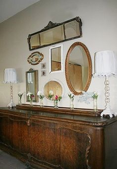Antique Mirrors Dining Room Mirror Wall, Mirror House, Wall Mirrors, Country Victorian Decor, Mirror Gallery Wall, Vintage Mirrors, Decoration, Home Furniture, Sweet Home