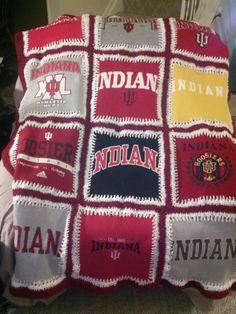 Indiana University t-shirt blanket