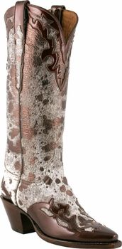 Ladies Lucchese Classics Bronze Metallic Hair On Calf Wingtip Custom Hand-Made Western Boots L4663