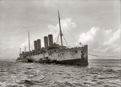 """September 1916. """"Kron Prinz Wilhelm, German ship, interned in U.S. in tow."""""""