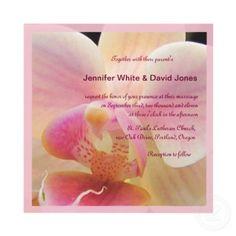 Pretty orchid wedding invitation in pastel colors.