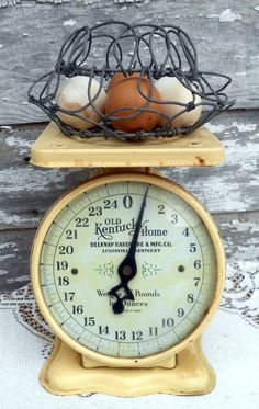 Antique Old Yellow Kitchen Scale- perfection