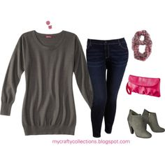 Plus-size Outfit - Sweater tunic, dark wash jeans, scarf, dahlia earrings, and ankle boots. Great look! #plussizefashion