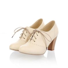 Ladies Oxford Round Toe Lace Up Mid Thick High Heels Spring Autumn Dress Shoes Z | eBay