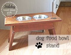 dog food bowl stand using a step stool. This post has lots of Hand-made gift ideas and a GIVEAWAY