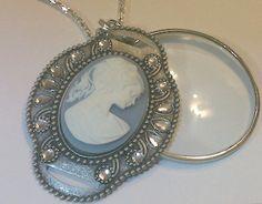 Magnifying Glass Swivel Rhinestone Cameo Pendant by JENSTARDESIGNS, $24.99