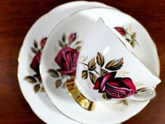 3 Piece Tea Cup, Plate and Saucer, Gladstone Bone China, Dark Red Roses, Trio Teacup Set 12172 Dark Red Roses, Gladstone, Side Plates, Tea Sets, Day Use, Tea Cup, Bone China, 3 Piece, Cups