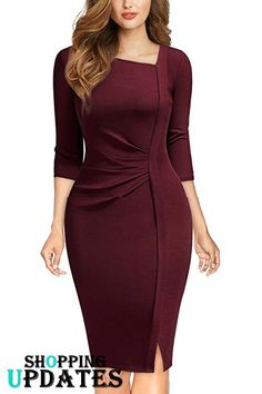 Women s retro classy v neck stretch business wrap bodycon dress businessdress wrapdress bodycondress clothing womensclothing womensfashion pencildress moda retr looks para se inspirar Modest Dresses, Simple Dresses, Elegant Dresses, Cute Dresses, Short Dresses, Dresses For Work, Casual Summer Dresses, Classy Dresses For Women, Mode Outfits