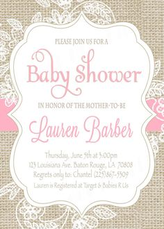 Burlap and Lace Baby Shower Invitation / Pink by SweetProvidence