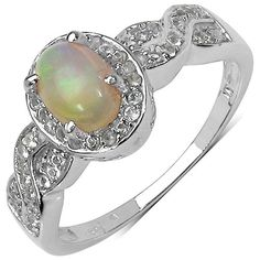 0.80 ct. t.w. Ethiopian Opal and White Topaz Ring in Sterling Silver Johareez, ETHIOPIAN OPALS.JEWELRY FUN to buy just click on amazon here  http://www.amazon.com/gp/product/B00BPS1PV4?ie=UTF8=213733=393185=B00BPS1PV4=shr=abacusonlines-20&=jewelry=1373923525=1-11=ethiopian+opalA REAL DEAL http://a-real-deal.com