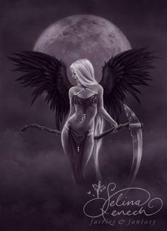 dark fantasy jasmine | Art Print - Dark Moonlight Angel by Selina Fenech Drawstring Bag ...