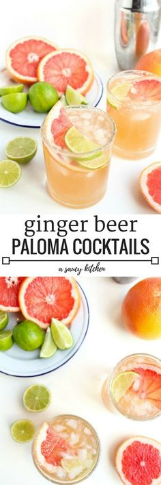 Ginger Beer Paloma Cocktails A fresh & simple cocktail made with grapefruit, limes, tequila & ginger beer Fancy Drinks, Easy Cocktails, Summer Drinks, Cocktail Recipes, Cocktail Ideas, Mexican Cocktails, Margarita Recipes, Holiday Drinks, Cocktail Simple
