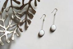 Black & white drop earrings, oval earrings, oval dangle earrings, resin earrings, sterling silver earrings, gift for her, modern earrings by JoJoBlueDesign on Etsy https://www.etsy.com/uk/listing/475938416/black-white-drop-earrings-oval-earrings