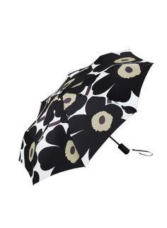 Pieni Unikko -sateenvarjo (valkoinen, musta, oliivi)  Asusteet, Sateenvarjot, Laukut & asusteet   Marimekko 49,50€ Marimekko, Under My Umbrella, Flower Power, Bag Accessories, Latest Fashion, Mini, Bags, Rainy Days, Umbrellas