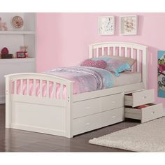 Harriet Bee Dolby Twin Slat Bed with Drawers Color White  sc 1 st  Pinterest & BRIMNES Daybed frame with 2 drawers white | Pinterest | Daybed ...