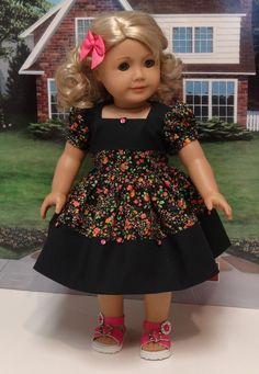 Delightful Blooms - vintage style dress for American Girl doll. $45.00, via Etsy.