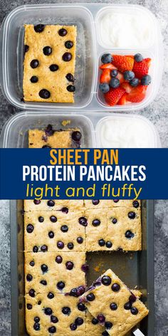 Skip the flipping with these big batch sheet pan protein pancakes! Light and fluffy, with juicy blueberries and a hint of vanilla, they are filling with 11 g protein per serving. Prep them ahead and reheat for easy breakfasts through the week. #sweetpeasandsaffron #sheetpan #mealprep #breakfast Best Breakfast Recipes, Brunch Recipes, Snack Recipes, Brunch Dishes, Brunch Ideas, Breakfast Ideas, Easy Recipes, Saffron Recipes, Second Breakfast