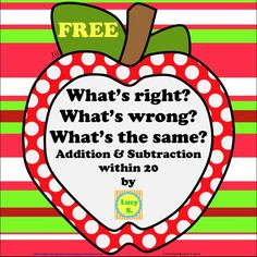 *** FREE *** Addition & Subtraction within 20 - CCSS 1.OA.6 / 1.OA.7