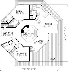 I'd really like this type floor plan, except with traditional wall lines.
