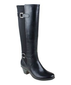Earth Black Rider Leather Stretch-Back Boot by Earth #zulily #zulilyfinds