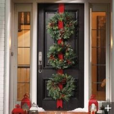 Three Christmas Wreaths on Red Ribbon for Front Door by gabrielle
