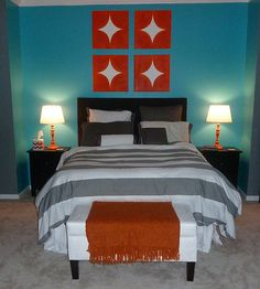DIY Painted Chevron Curtains and Orange Accents - Mix & Match Fashion