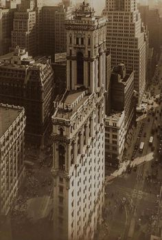 Aerial view of #1 Times Square, The New York Times Building looking south from 42nd Street.
