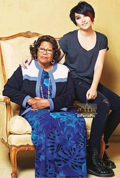 Paris Jackson (aged 15) in 2013 with her Grandmother Katherine Jackson