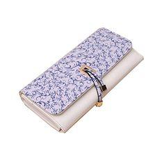Women LeatherCute Unicorns Pink Background Wallet Large Capacity Zipper Travel Wristlet Bags Clutch Cellphone Bag