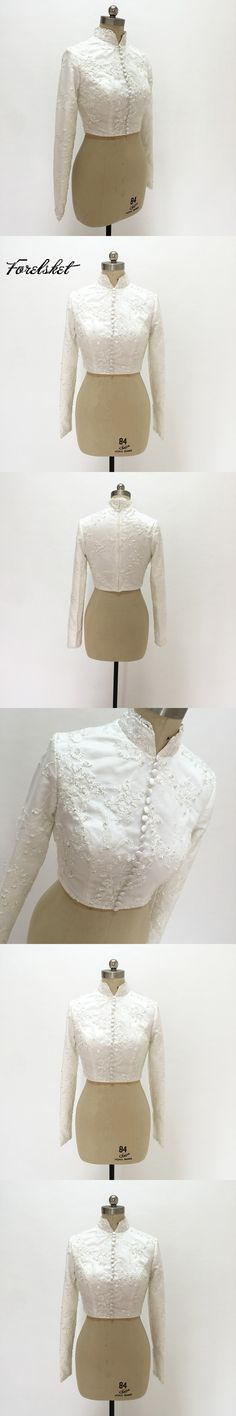 wedding jacket 2017 white bridal shawl long sleeves helter lace and beads wedding Accessories only upper body not includ skirt
