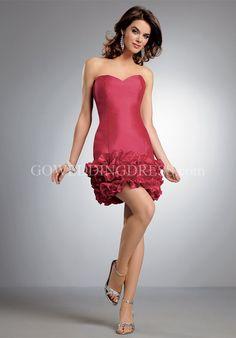Sheath Strapless Short Length Iridescent Taffeta Bridemaid Dress Style 245