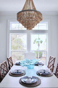 made goods chandelier, lovelace interiors, coastal dining room, blue white dining room, design Room, Interior, Dining, Ceiling Lights, Remodel, Home Decor, Valance Curtains, Interior Design, Dining Room