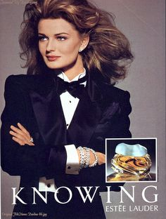 """Paulina Porizkova pour Knowing d'Estée Lauder. I totally forgot how much I loved this perfume. """"Knowing is all."""""""