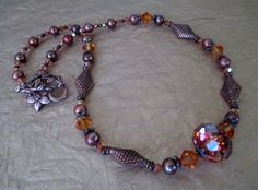 Copper Pearl and Swarovski Crystal Necklace by mdeja on Etsy, $82.00