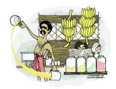 Chayakkada (tea stall) Visit the post for more. Indian Illustration, Cute Illustration, Cartoon Drawings, Art Drawings, Indian Drawing, Indian Comics, Indian Folk Art, Doodle Art, Unique Art