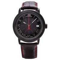 88 Rue Du Rhone 87WA120035 Mens Black Dial Red Stitch Leather Strap Watch, Black