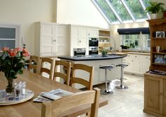 Love the Island, different worktops, dining/kitchen. Kitchen Orangery, Orangery Extension, Open Kitchen, Bar Stools, Extension Ideas, Dining, Living Room, Kitchen Ideas, Table