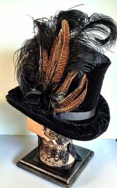 Back of Lady Jean Hat - lovely! Steampunk Top Hat, Steampunk Costume, Steampunk Clothing, Steampunk Fashion, Fancy Hats, Cool Hats, Fascinators, Headpieces, Tea Hats