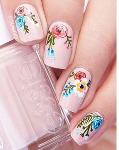 Flowers do not always open, but the beautiful Floral nail art is available all year round. Choose your favorite Best Floral Nail art Designs 2018 here! We offer Best Floral Nail art Designs 2018 .If you're a Floral Nail art Design lover , join us now ! Nail Art Designs, Flower Nail Designs, Spring Nails, Summer Nails, Cute Nails, My Nails, Floral Nail Art, Flower Nails, Nail Art Flowers