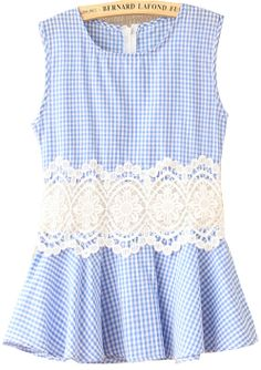 Blue & White Gingham with Embroidered Midsection  Blouse - this has a sweet country flair about it.