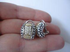 413.00 Lagos Caviar 925/18k Gold Diamond Omega Back Earrings #LAGOS #Huggie