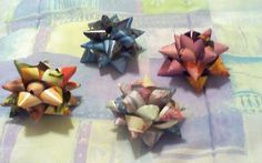 great tutorial on how to make gift bows from old magazines--surprisingly easy to make and always a huge hit!