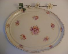 Vintage Cottage Chic Ivory Floral Platter Made in Germany French Country Shabby English Cottage, Vanity Tray