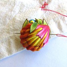 Sunrise Seashell Needle Nanny Sewing Needle Buddy by Claybykim
