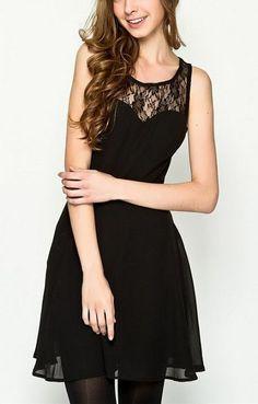 62247438864f2e Hollow-out Lace Splicing Sleeveless Chiffon Dress Cute Dresses